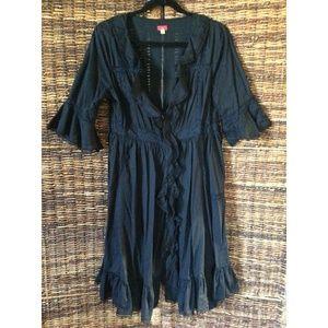 Free People Black Prairie Midi Dress - Large